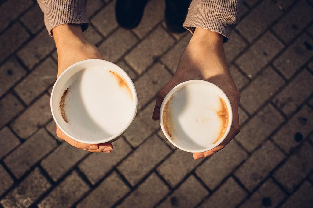 Coffee Island's flat white and Spanish latte coffee.