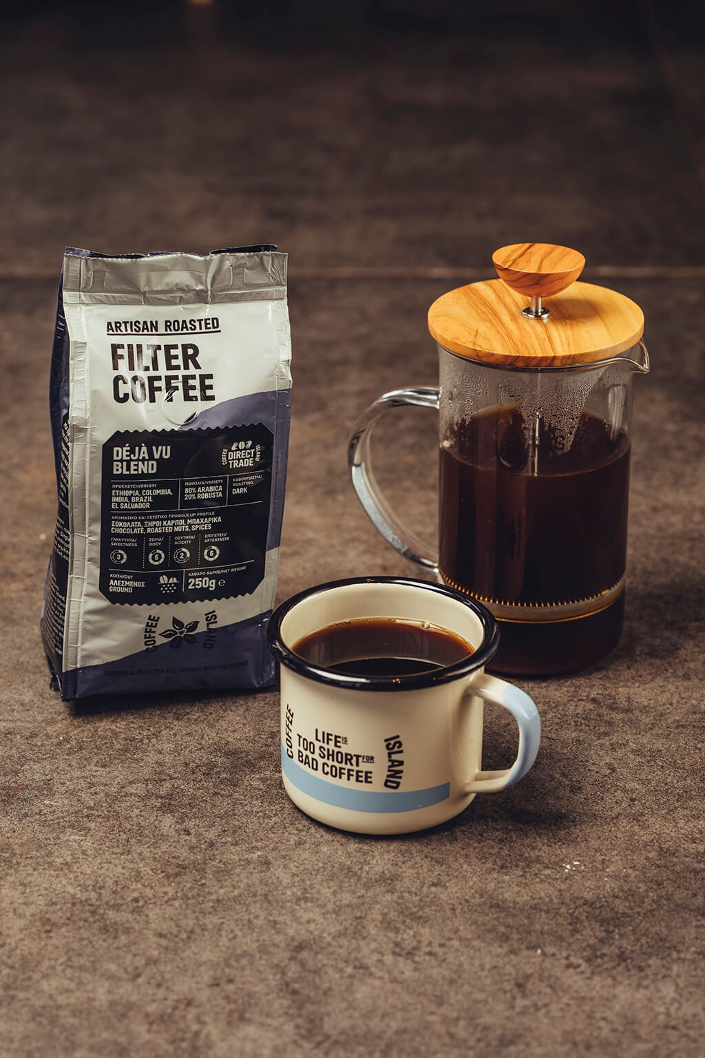 Coffee Island's filter coffee package, coffee press and mug
